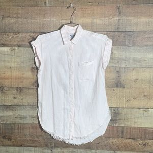 Aerie pink and white stripped button down shirt